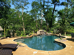 st louis pool construction, custom concrete pool, freeform, nature deck