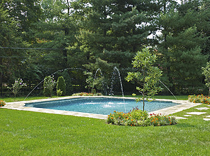 st louis pool construction, custom concrete pool, grecian, geometric, grass patio