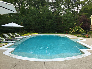 st louis pool construction, custom concrete pool, federal stone coping, textured deck, grecian