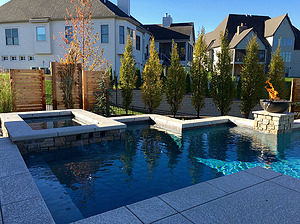 st louis pool construction, custom concrete pool, concrete spa, geometric, textured deck, fire bowl