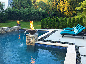 st louis pool construction, custom concrete pool, fire bowl, water bowl, cut stone coping