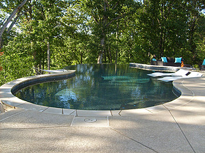st louis pool construction, custom concrete pool, freeform, flagstone coping, textured deck