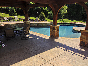 st louis pool construction, custom concrete pool, stamped concrete patio