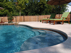 st louis pool construction, custom concrete pool, stair entry, tan shelf, textured deck