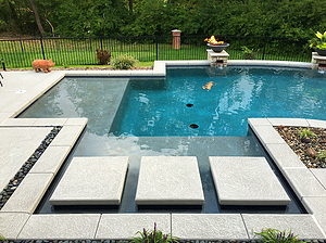 st louis pool construction, custom concrete pool, floating steps, tan shelf, fire bowl
