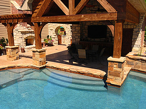 st louis pool construction, custom concrete pool, stair entry, tan shelf, stamped concrete deck