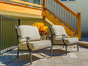st. louis pool construction, metal outdoor furniture with plush tan cushions