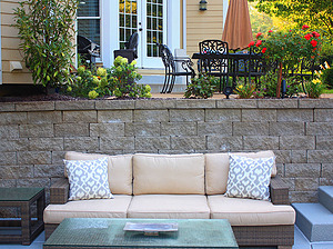 st. louis pool construction, brown wicker outdoor furniture with ivory cushions
