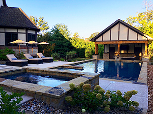 st. louis custom designed concrete pool with spa and pool house