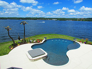 st. louis custom designed freeform concrete pool with spa, laminar jets and metal palm trees overlooking lake