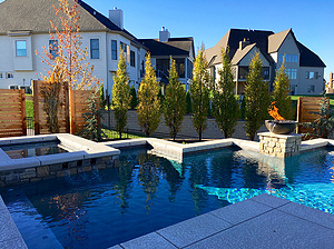 geometric st. louis custom designed concrete pool with spa and fire bowl, privacy fences