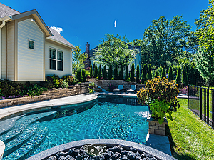 st. louis custom designed concrete pool with fire bowls, retaining wall and natural privacy screen