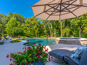 freeform st. louis custom designed concrete pool with spa and plush patio furniture