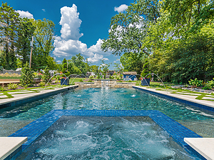 st. louis custom designed concrete pool, rectangular concrete spa with tile spillover