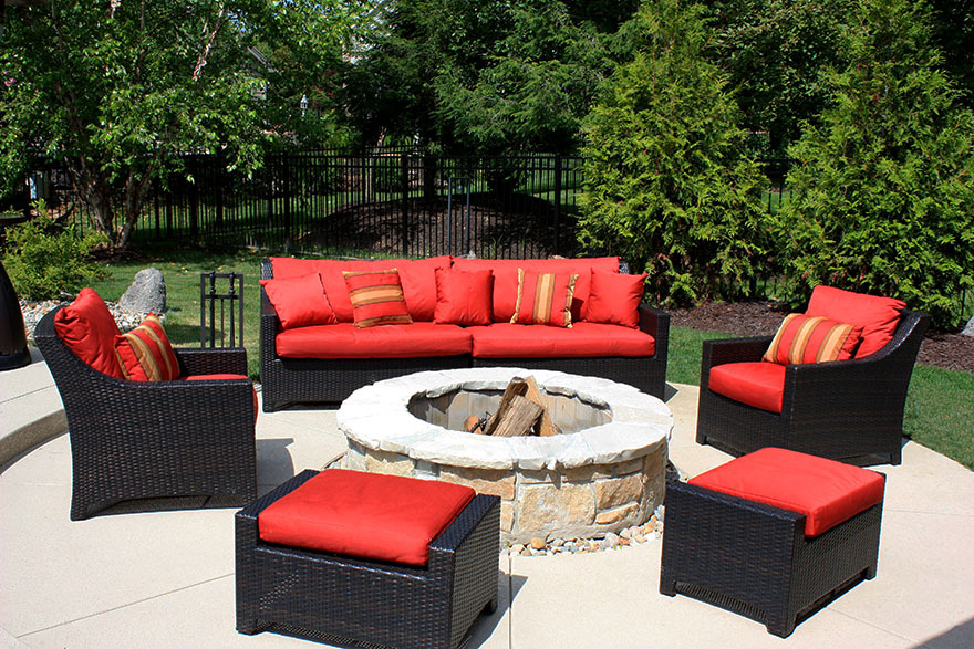St Louis Pool Construction Round Wood Burning Fire Pit On Concrete Patio Red
