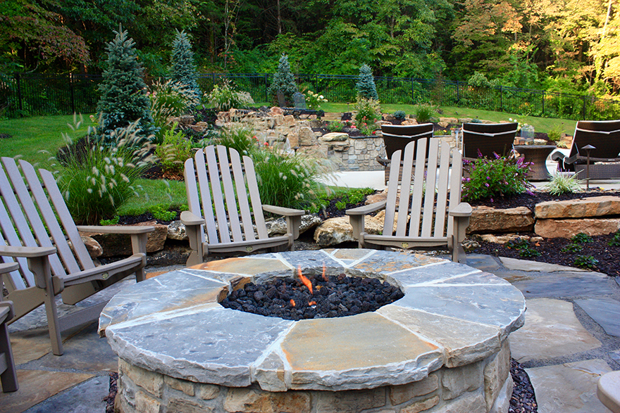 St. Louis Pool Construction, Flagstone Patio With Round Gas Fire Pit With  Stone Veneer