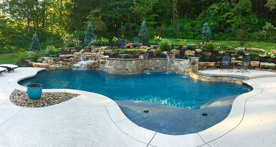St. Louis Custom Pools Gallery | Baker Pool Construction on patio raised garden beds, paver stone raised garden beds, front entrance raised garden beds,