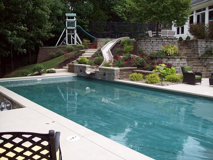 Baker pool construction water slides for Swimming pools with waterslides